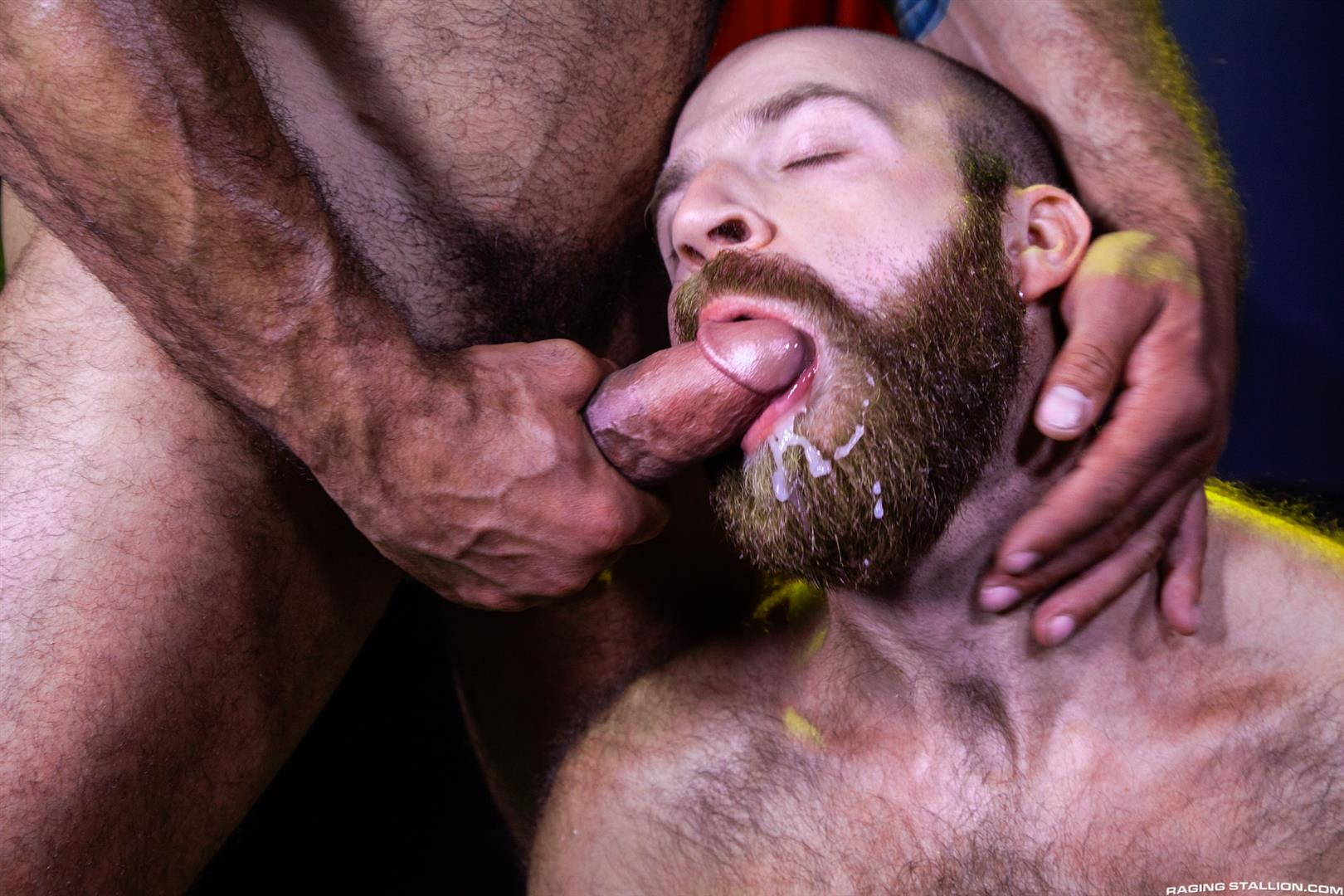 Raging-Stallion-Drake-Masters-and-James-Stevens-hairy-guys-cum-facial-14 Hairy Muscle Bear Drake Masters and Otter James Stevens Swap Cum Facials